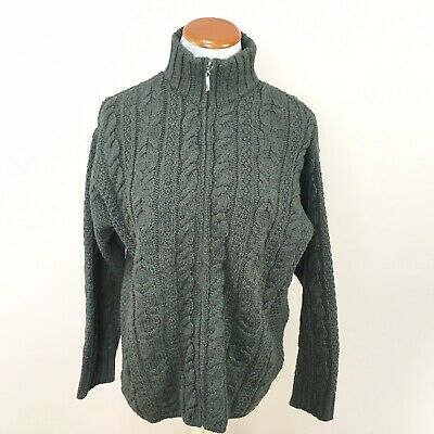 Aran Crafts Ireland Sweater Sz Large Green Cable Knit Merino Wool Sweater Coat