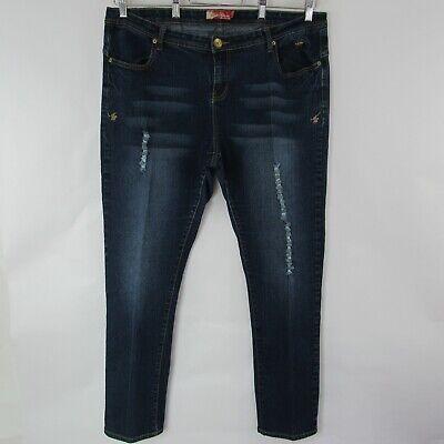 Apple Bottoms Jeans Size 20 Stretch Distressed Skinny Blue Denim Heart Pocket - 20 Bottoms Jeans