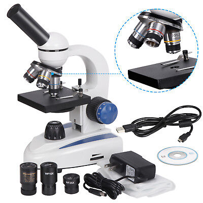 40x-1000x Led Student Science Biological Compound Microscope Usb Digital Camera