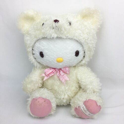 Hello Kitty Plush Jointed With Polar Bear Costume White Furry