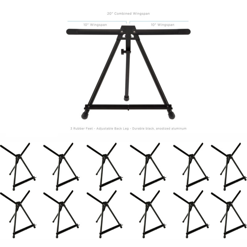 SoHo Urban Artist Table Top Easel w/ Carry Case Black Anodized Aluminum 12 Pack