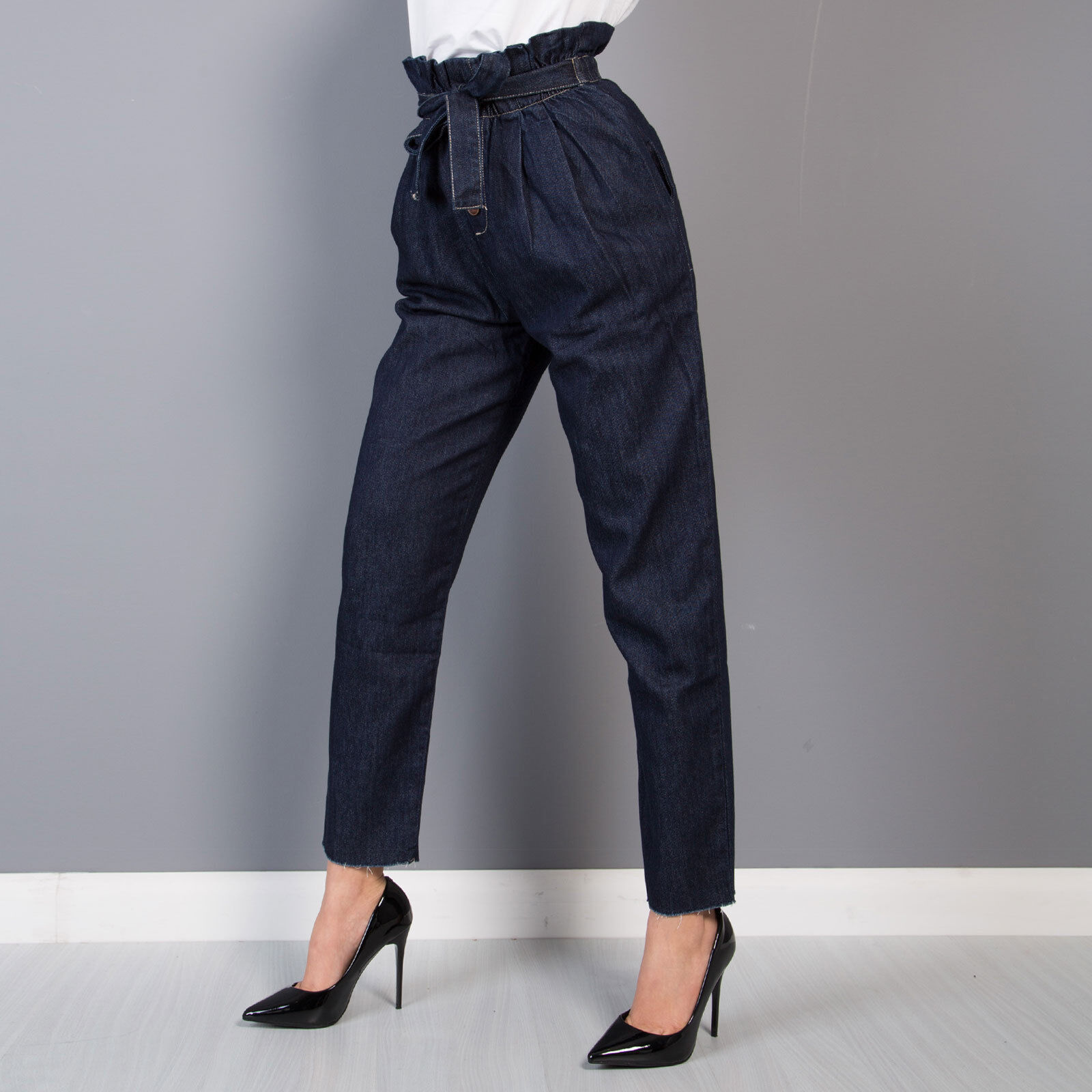 e6e22da882 Jeans donna blue pantaloni vita alta elastico fiocco aderente slim ...
