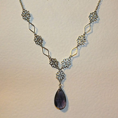 LACY FILIGREE VICTORIAN STYLE PURPLE GLASS CRYSTAL DARK SILVER PL NECKLACE