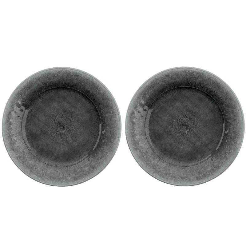 Potters Reactive Glaze GREY Melamine Dinner Plate x 2