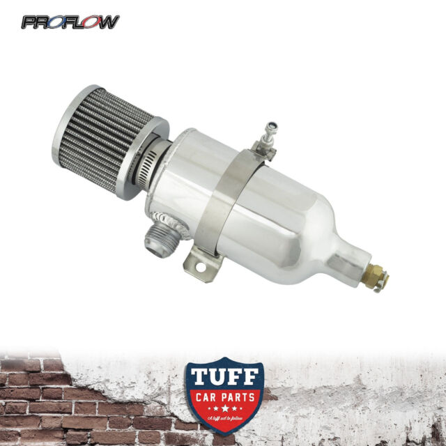 Proflow 750ml Polished Oil Catch Can Tank with Breather & Drain Tap -12 AN New