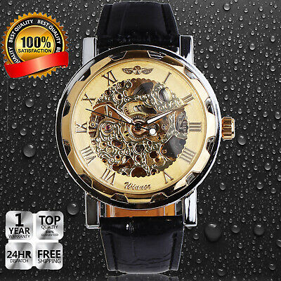 Mens Classic Black Leather Band Dial Automatic Mechanical Skeleton Wrist Watch
