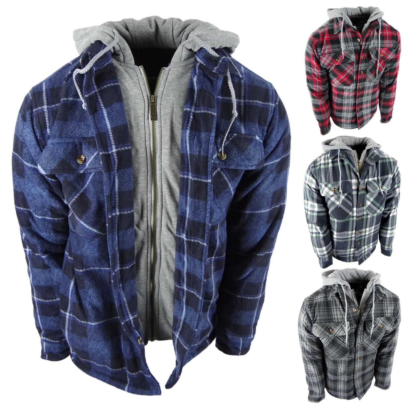 Mens Plaid Flannel Shirt Hoodie Soft Fuzzy Fleece Sherpa Lined Zip-Up 4 Pocket