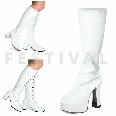 Damen Herren Weiß Kniehoch Ösen Plateau Disco Kostüm (Weiße Kostüm Stiefel)