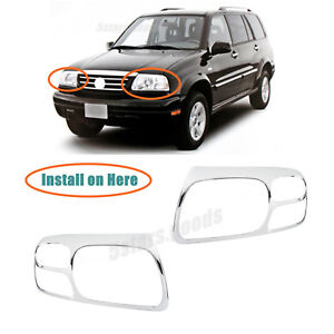 Chrome Front Headlight Lamp Covers Trims For 2001-2003 Suzuki XL-7 SUV
