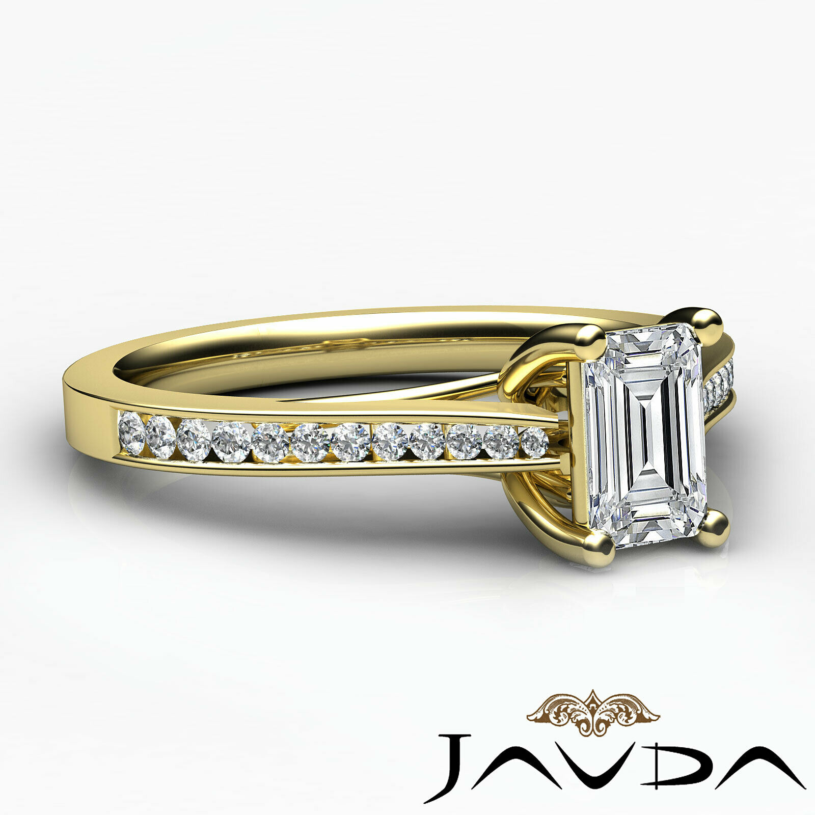 1Ctw Channel Set Emerald Diamond Engagement Her Ring Band GIA H-VVS1 White Gold 10