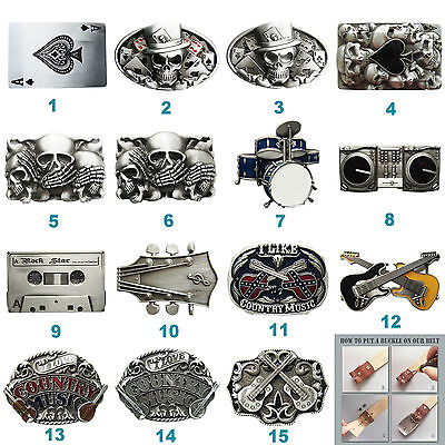 Tattoo Skull Country Music Guitar Belt Buckle Mix Styles Choice also Stock in US - Guitar Belt Buckle