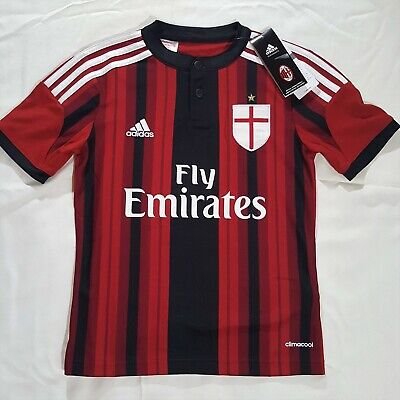 NWT AC Milan Fly Emirates Adidas Climacool Soccer Football Jersey Youth Size S