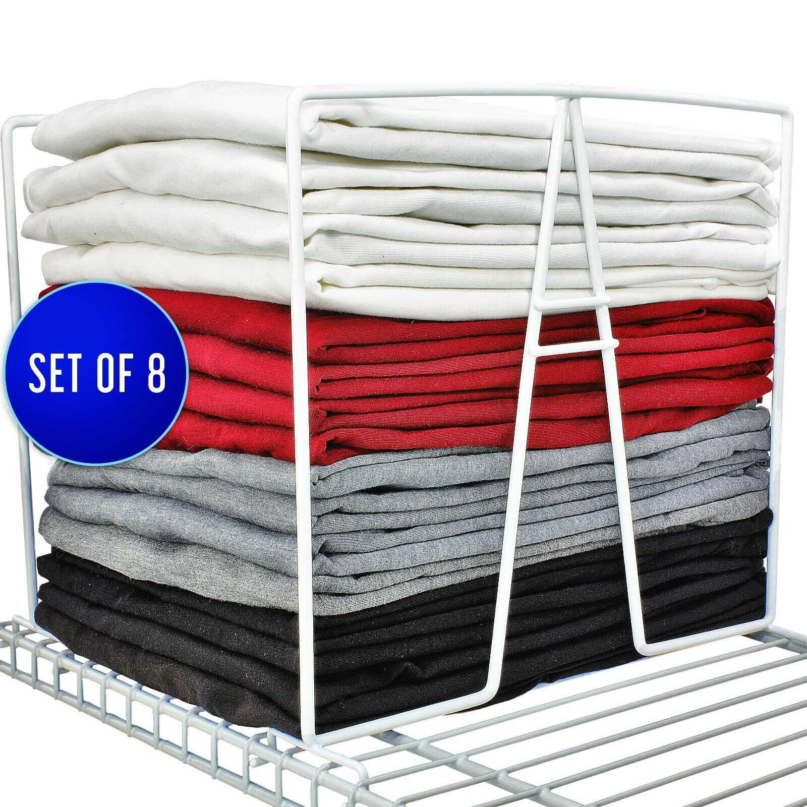 8 Pack TitanSecure White Wire Shelf Dividers for Wire Shelvi