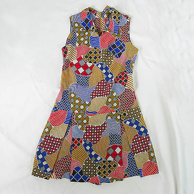 VTG 60s Mod Womens Romper Dress Retro Geometric Abastract Collar M/L