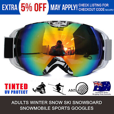 dbbfe7060136 Adults Ski Snow Googles Snowboarding Skating Anti-Fog Lens 100% UV400  Protection