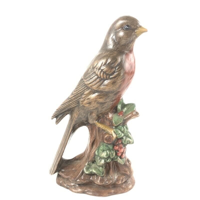 Vtg Holland Mold Robin Red Breast Bird On Branch With Berries Ceramic Hand Paint