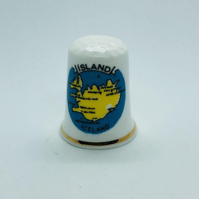 Souvenir Iceland Island Map Fine Bone China Thimble