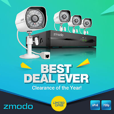 Zmodo® 1280*720P HD IP Network Outdoor PoE CCTV Home Security Camera NVR System