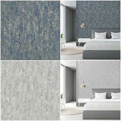 Holden Decor Industrial Texture Wallpaper - Statement Feature Wall - Blue Silver