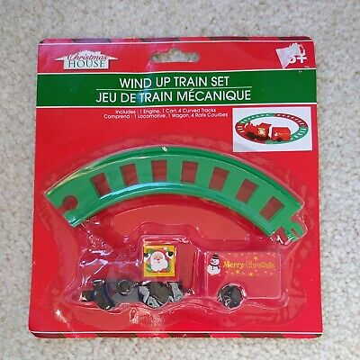 Great Xmas Eve Gift!Christmas House Wind Up Train Sets With Track NIP