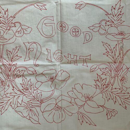 Pair Antique Turkey Red Pillow Overlays Redwork Sleep Slumber Linen Embroidery