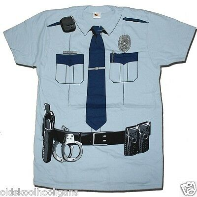 Policeman / Cop Print T Shirt Fancy Dress Costume Halloween US Import The Best