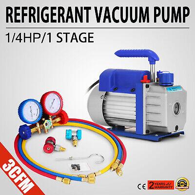 Vevor A/C Manifold Gauge Set R134A R410a R22 With 3 CFM 1/4HP Air Vacuum Pump