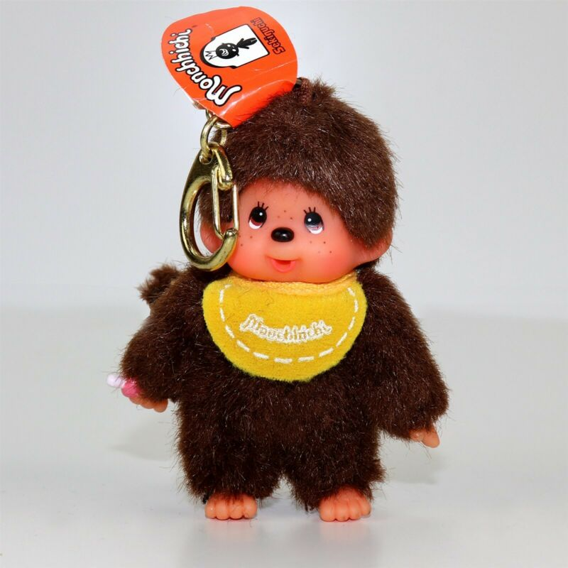 "Monchhichi Monchichi Monkey Yellow Bib 3.5"" Doll Plush Toy Keychain by Sekiguchi"