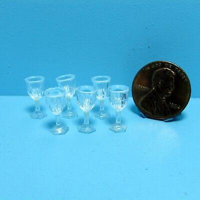 Dollhouse Miniature Set of 6 Crystal Cut Wine Glasses ~ FA40322