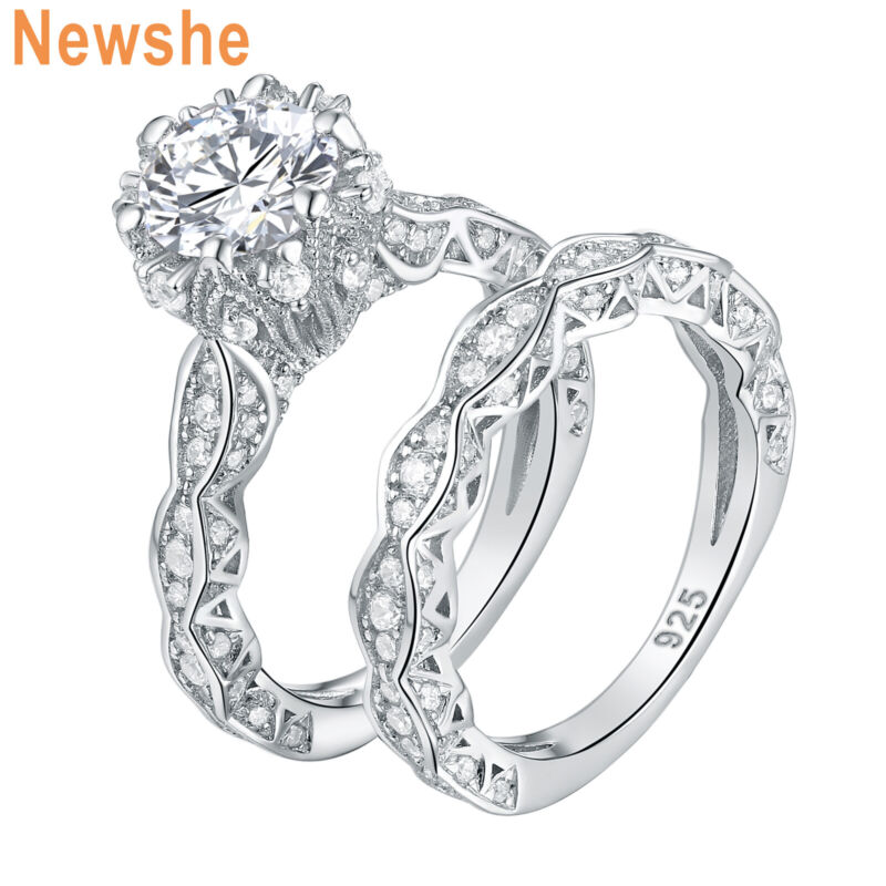 Newshe 4ct Wedding Engagement Ring Set For Women Sterling Silver Round Aaaa Cz