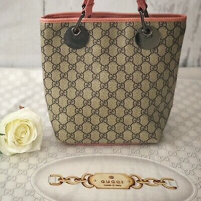 Authentic Gucci Monogram Beige, Silver Tote Canvas Shoulder Bag