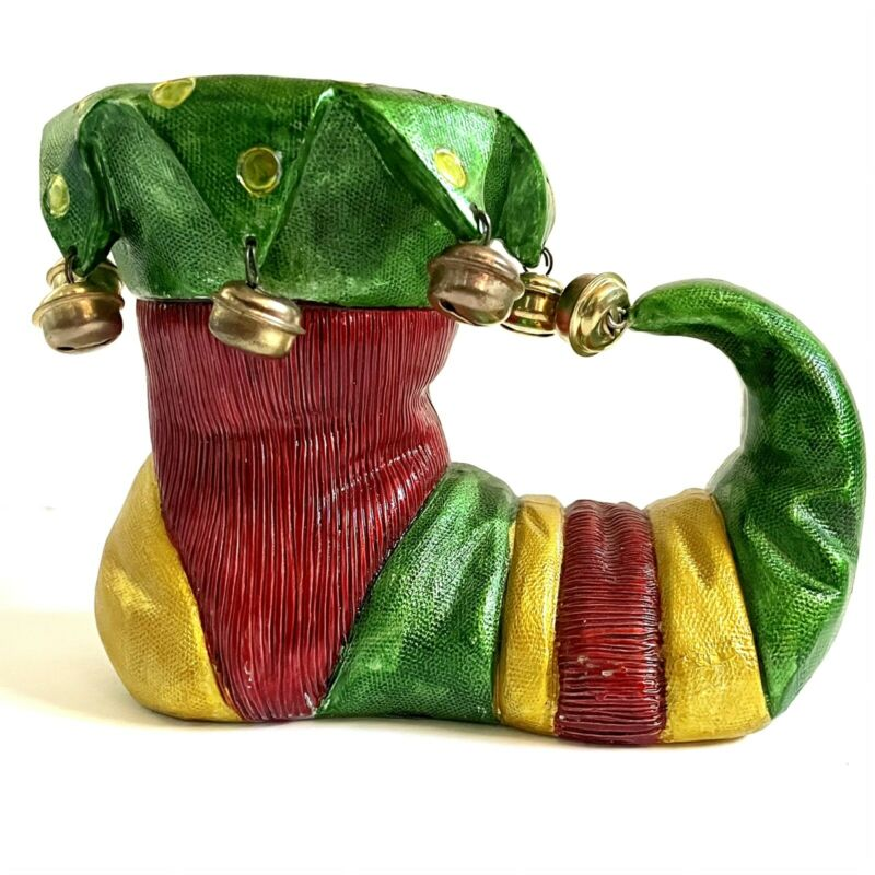 Mark Roberts Christmas Vintage Elf Shoe Candle Holder, Green, Red & Yellow Bells