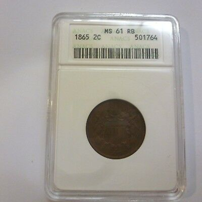 1865 US TWO CENT PIECE ANACS MS61 RB