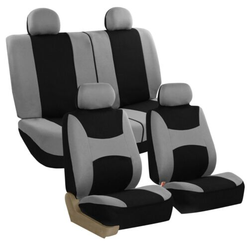 Car Seat Covers Auto Sedan SUV Truck Van Full Set 4 Headrests Gray