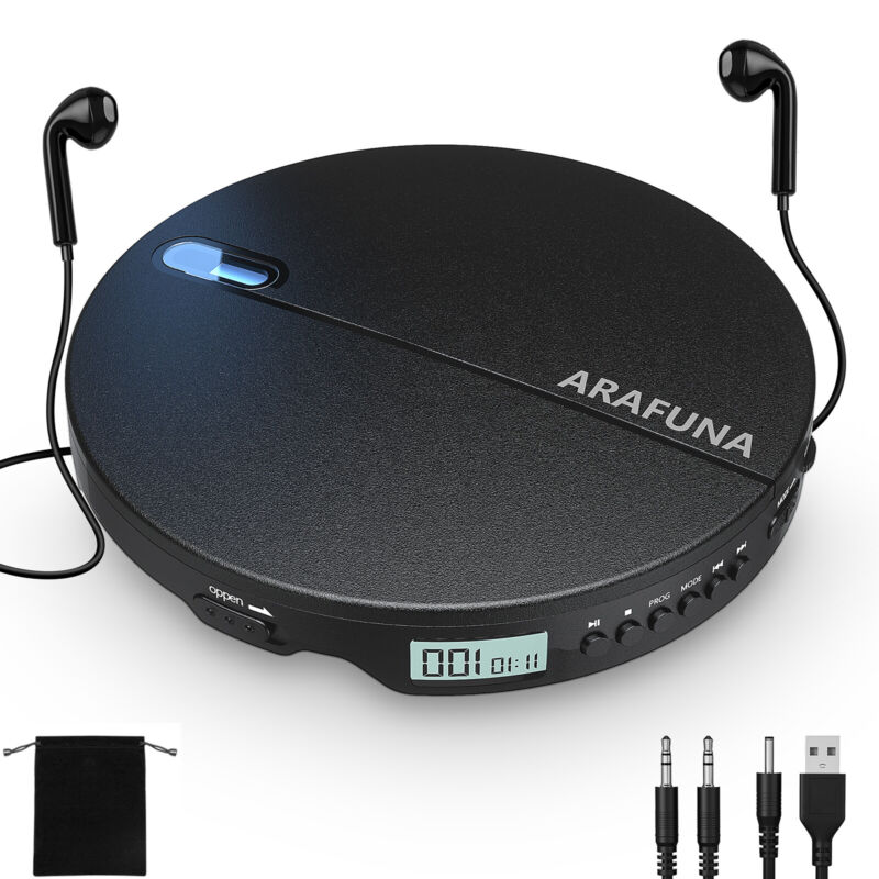Portable CD Player with Headphones for Car Small Compact Walkman CD Player Black