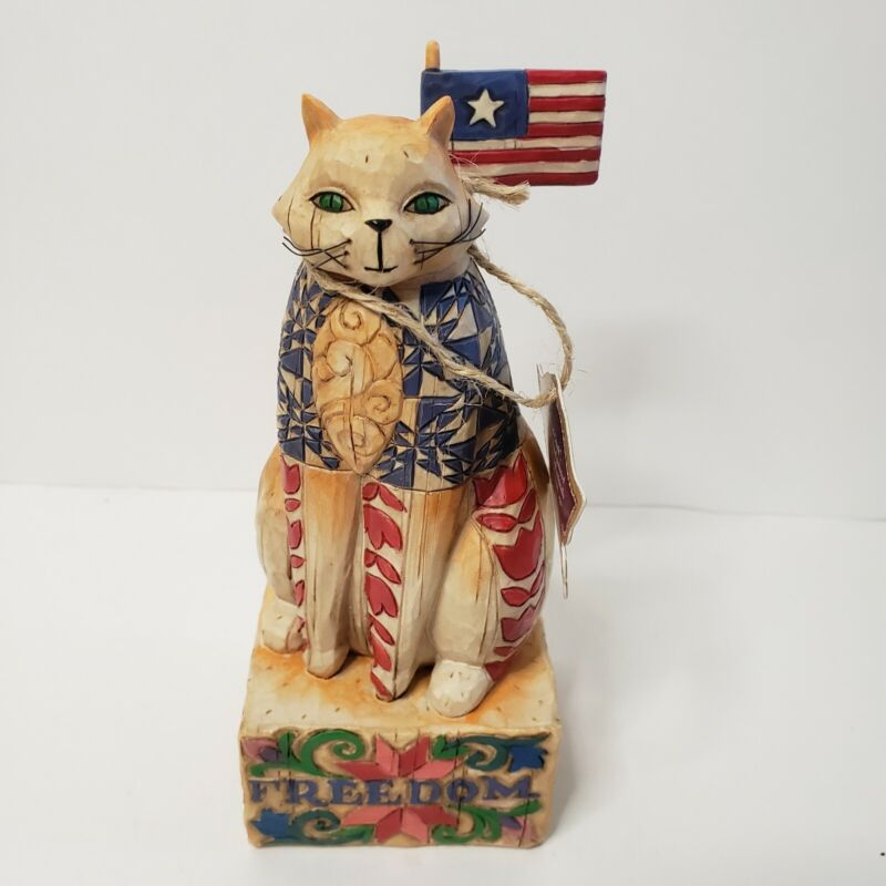 """NWT 2003 Jim Shore Heartwood Creek Cat """"With Liberty And Justice For All"""" w/Box"""