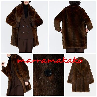 ZARA NEW BROWN FAUX FUR WRAP COAT REF 4369/243 SIZE XS ABRIGO...