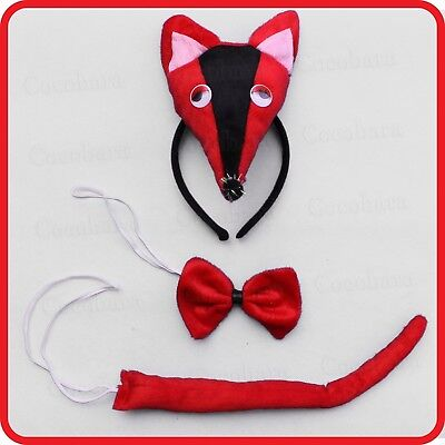 RED FOX MOUSE RAT HEADBAND HAIRBAND WITH EARS+BOW TIE+TAIL-3PC DRESS UP-COSTUME - Rat Ears Costume