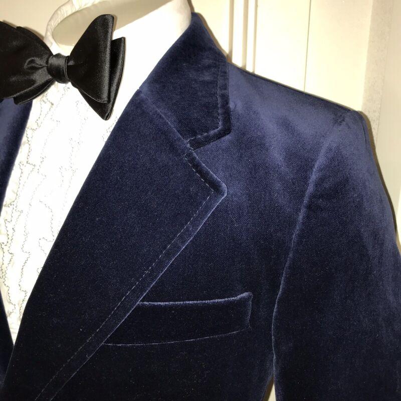 Vtg 60s 70s Navy SUEDE velvet Mens 38 Sport Coat TUXEDO Jacket Suit Prom Blazer