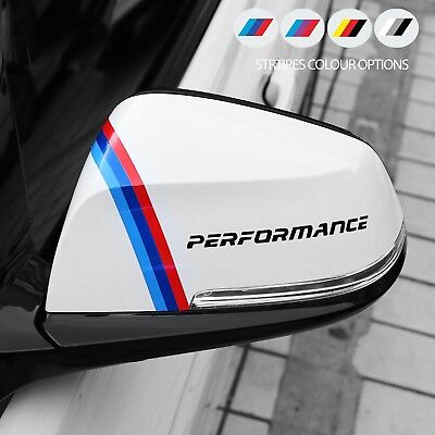 2 x For BMW PERFORMANCE Mirror M Sport VINYL STICKERS Stripes JDM DECAL Graphics