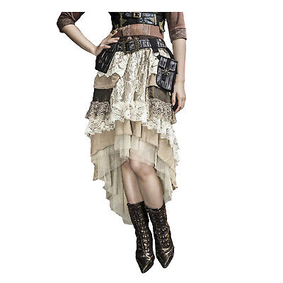 Adult Women's Steampunk Gothic Victorian Western Cream Lace Hi-Low Costume Skirt](Costume Western)