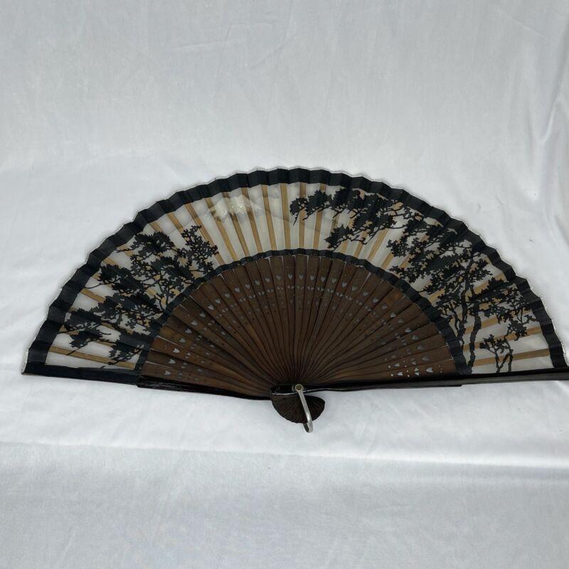 Japanese Black Mountain Landscape Folding Hand Fan Wood Handle Vintage