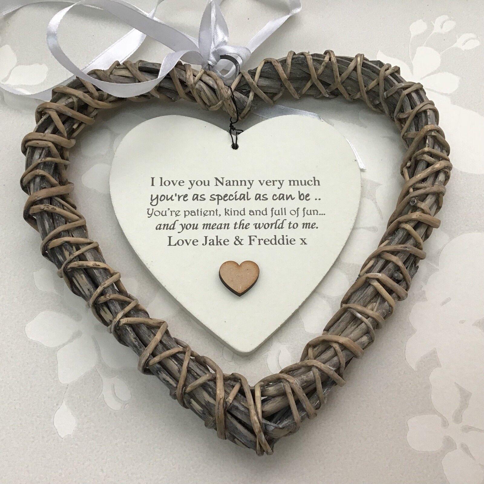 Shabby personalised Chic NANA Nanny NANNIE Granny ~ ANY NAMES Gift Willow Heart - 233008519423
