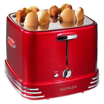 Nostalgia RHDT800RETRORED Four Pop-Up Hot Dog Toaster