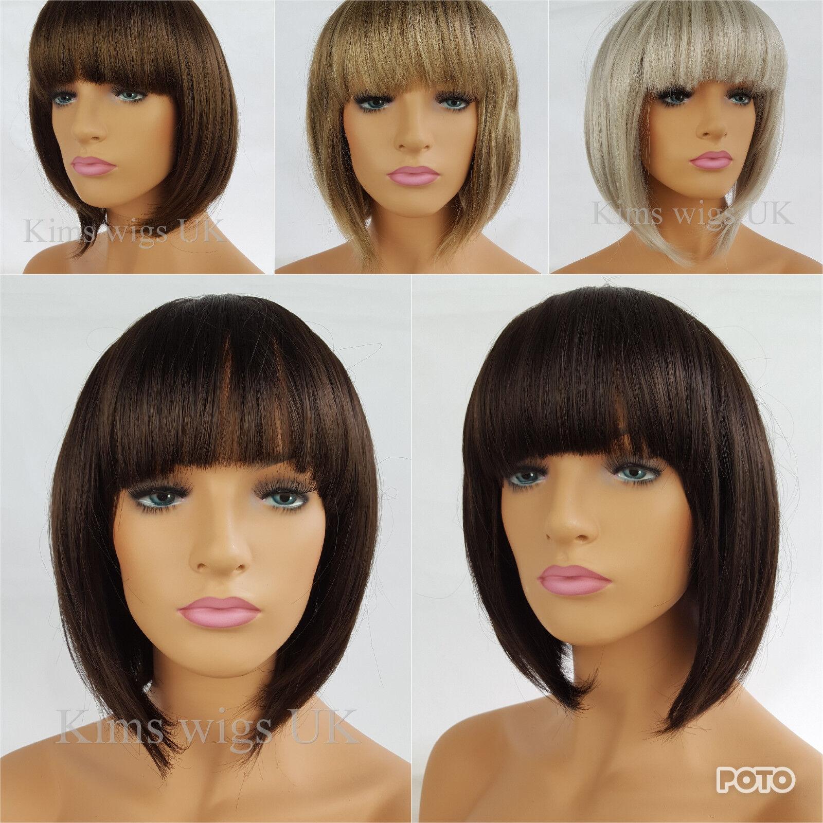 Details Zu Ladies Bob Wig Womens Short Style Brown Blonde Black Silver Grey B38 Uk Seller