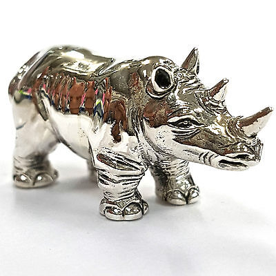 COLLECTABLE VICTORIAN STYLE HEAVY STANDING RHINO FIGURINE 925 STERLING SILVER
