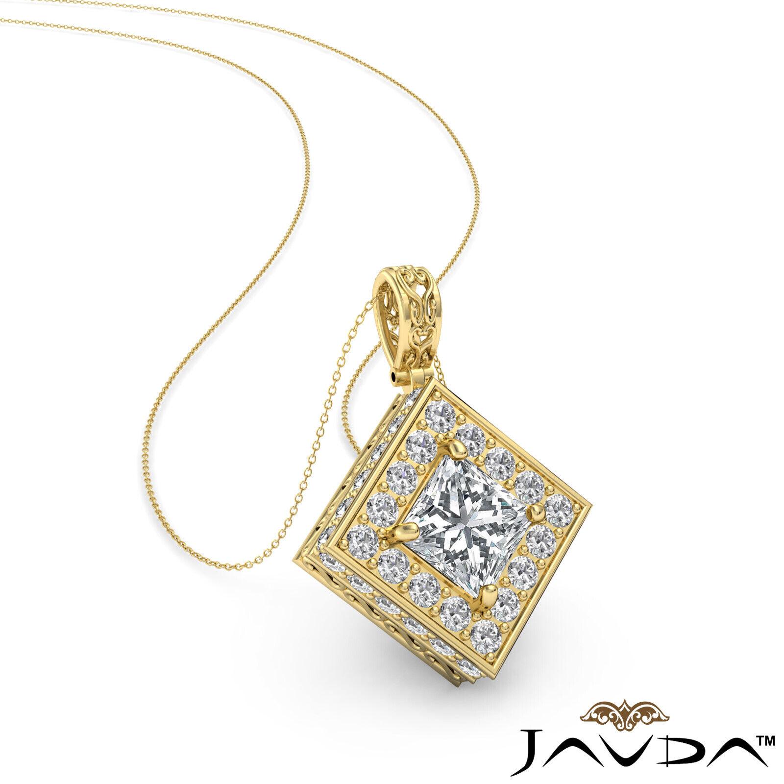 Kite Style Halo Princess 100% Natural Diamond Filigree Pendant Necklace 1.17ctw. 1