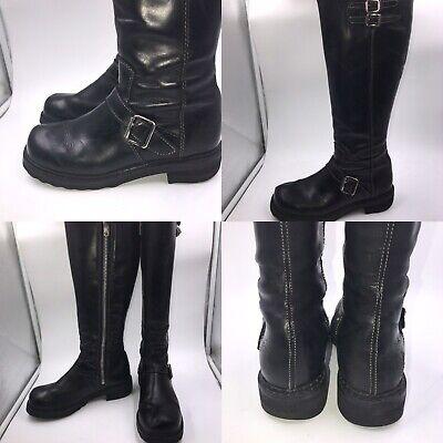 🌟John Fluevog Size 6 39 Black Leather Bondgirl Knee Length Biker Boots Womens