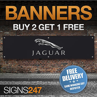 Jaguar Logo Black garage workshop PVC banner sign (ZA031)