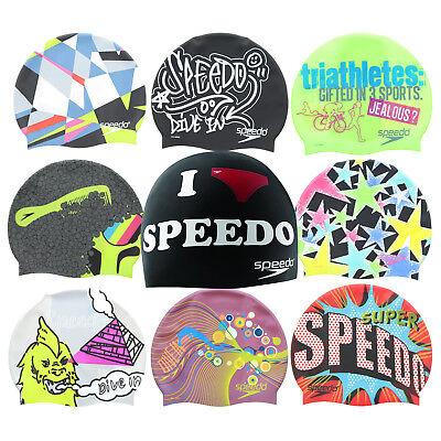 Speedo Adult Unisex Silicone Competition Swim Cap Multi Printed Designs Speedo Silicone Cap